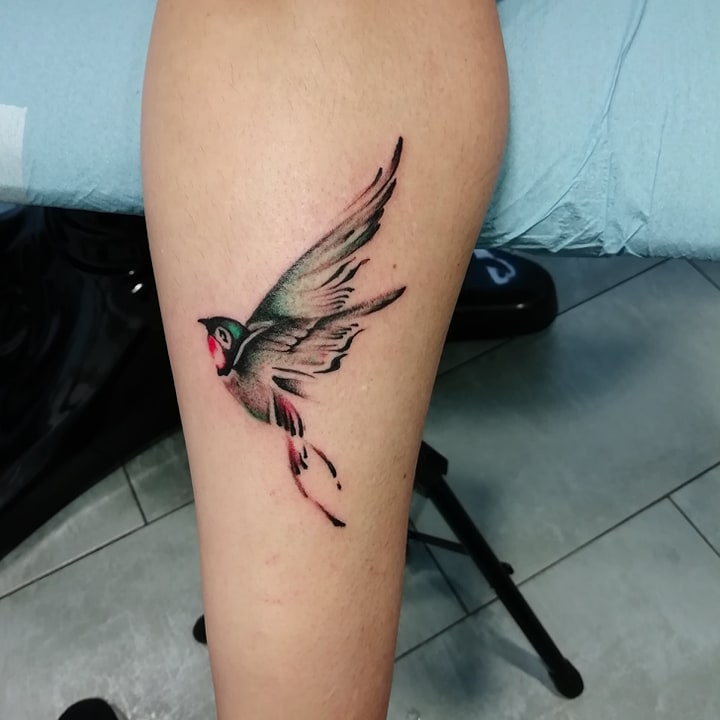 tatouagr oiseaux irondelle noir ombrage couleurs 99